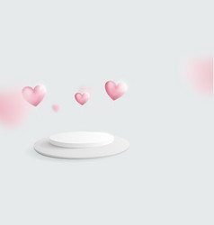 white podium with heart balloons floating vector image