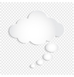 White thought bubble cloud on transparent vector