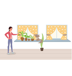 Woman spraying potted plants flat vector