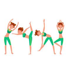 yoga woman poses set girl yoga poses vector image