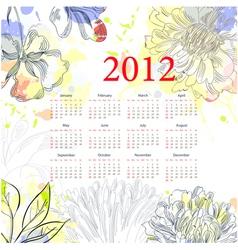 floral calendar for 2012 vector image