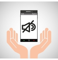 hand mobile phone no volume vector image