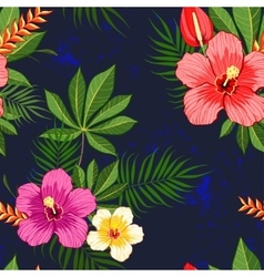 Tropical flowers pattern vector image vector image
