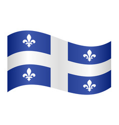 flag of quebec waving on white background vector image