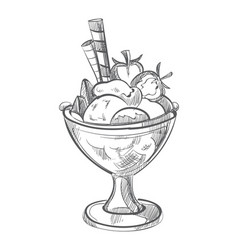 ice cream with waffles and strawberry hand drawn vector image vector image
