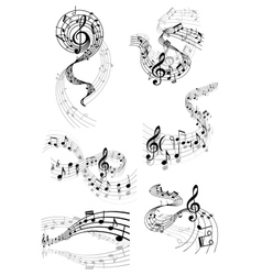 Musical waves with music notes vector image vector image