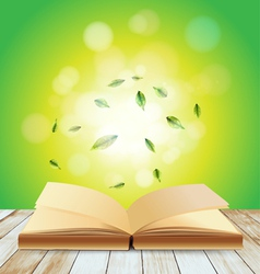 Open book on wood over light background vector image vector image