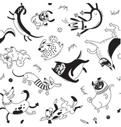 playing dogs seamless pattern funny lap-dog vector image