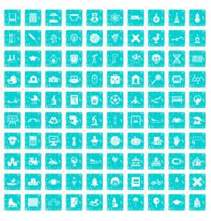 100 kids icons set grunge blue vector image vector image