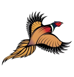 a stylish multi-colored flying pheasant vector image