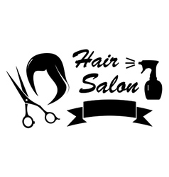 beauty symbol with woman hair and scissors vector image vector image