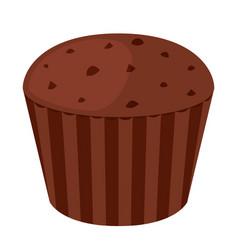 chocolate cupcake dessert in flat style bakery vector image