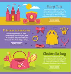 doll princess banner horizontal set flat style vector image vector image