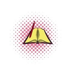 Open textbook comics icon vector image