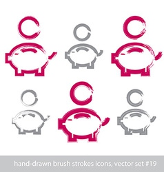 Set of hand-drawn pink piggybank icons stroke vector image