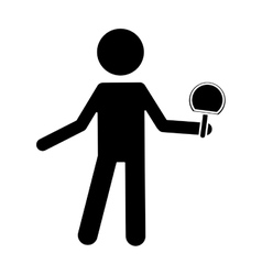 silhouette character ping-pong player with racket vector image