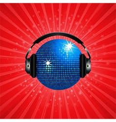 Blue disco ball and headphone on red background vector image vector image