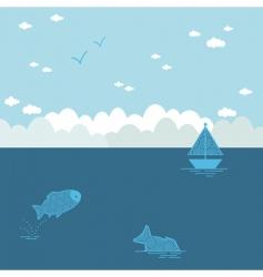 blue seascape vector image