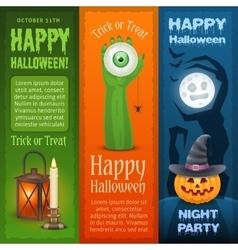 Happy halloween three vertical banners vector