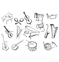 Musical instruments icons in sketch style vector image vector image
