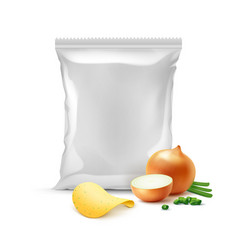 potato crispy chips with onion and sealed bag vector image vector image