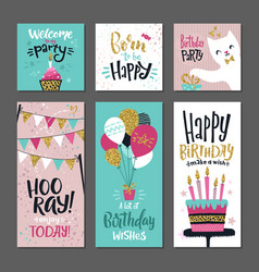 set of greetings cards invitation for birthday vector image