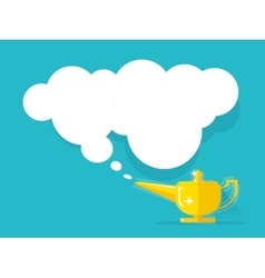 Aladdin lamp with jean cloud vector