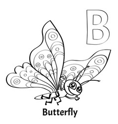 Alphabet letter b coloring page butterfly vector