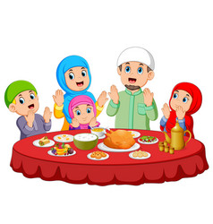 Are praying for eat food on ied mubarak vector