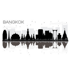 Bangkok city skyline black and white silhouette vector
