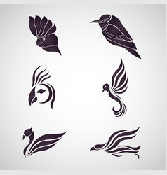 bird logo icon set vector image