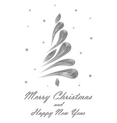black elegant christmas tree on white background vector image