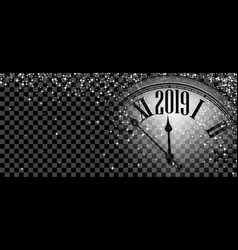Black shiny 2019 new year banner with clock vector