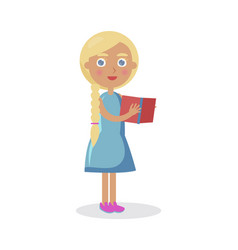 blond girl with blue eyes holds open book vector image