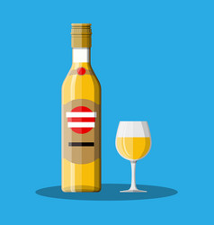 bottle of rum with shot glass vector image