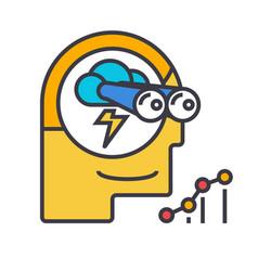 Brainstorm forecast vision flat line vector