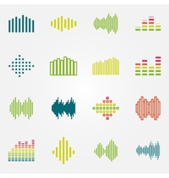 Bright music soundwave or equalizer icons set vector image