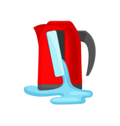 Broken red kettle pouring water damaged home vector