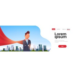 businessman wearing red super hero cape vector image