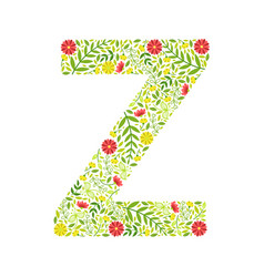 capital letter z green floral alphabet element vector image