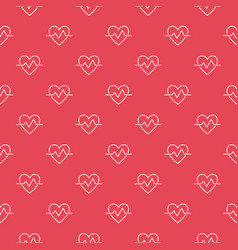 Cardiac cycle outline red seamless pattern vector