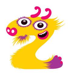cartoon capital letter z from monster alphabet vector image
