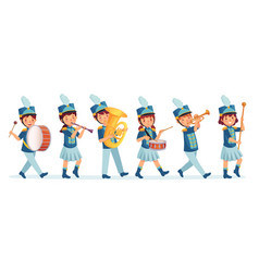 Cartoon kids marching band parade child musicians vector