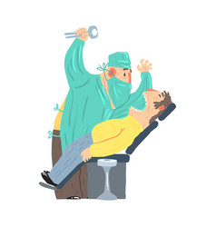 cartoon scary dentist character with male patient vector image