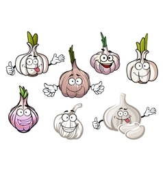 Cartoon spicy garlic vegetables with green sprouts vector image