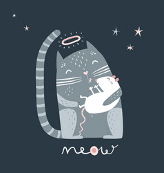 cat and mouse sleeping kiss vector image