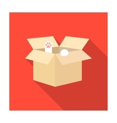 Cat in a carton box icon of vector