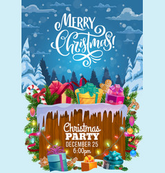christmas gifts on snow xmas party invitation vector image