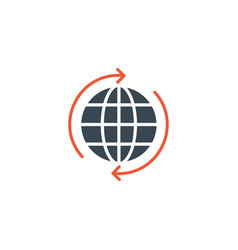 circle arrows around globe world planet icon vector image