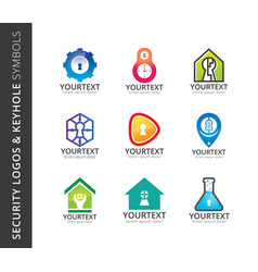 collection of security logos and keyhole symbols vector image